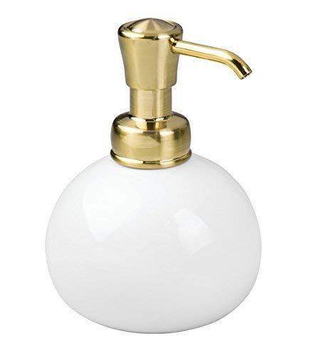 mDesign Portasapone liquido ricaricabile - Dispenser sapone in ceramica bianca e beccuccio in plastica/ottone - Capacità: 295 ml - Erogatore e dosatore sapone per bagno e cucina