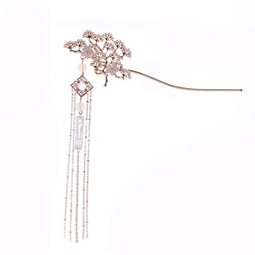 GETNOIVAS Chinese Vintage Pearl Tassel Flowers Hair Stick Hanfu Chinese Chignon Pin Chinese Traditional Headwear Bridal Hair Accessories (style:1)