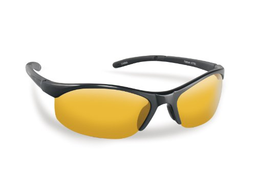 Flying Fisherman Bristol Polarized Sunglasses with AcuTint UV Blocker for Fishing and Outdoor Sports, Matte Black Frames/Yellow-Amber Lenses