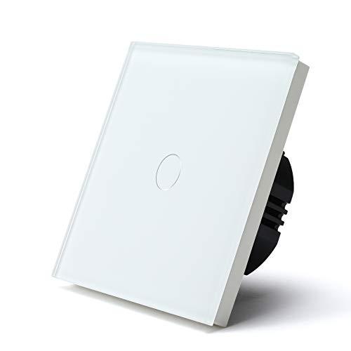 BSEED interruptor luz pared 1 Gang 1 Vía interruptor tactil pared Blanco con indicador LED,Interruptor de Luz con panel de vidrio templado,sin cable neutro (Carga máxima:500W)