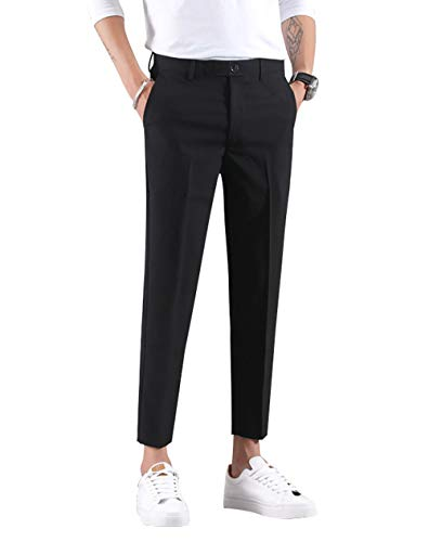 MOGU Ankle-Length Dress Pants for Men Slim Fit Cropped Trousers Size 33 Black