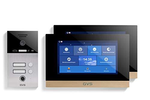 GVS AVS5079A - Videoportero de 4 cables/IP, IP65, RFID, Fingerprint, 2 monitores de 10 pulgadas, App, cámara HD 120°, apertura de puerta, 32 GB de memoria, conmutador PoE, 2 juegos de casa familiar