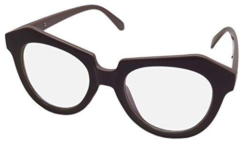 NEW Grand Transparent Objectif Lunettes de geek Fancy Dress Rétro Cadre marron CL2