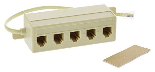 Valueline Telecom Splitter Maschio RJ11 a RJ11 Femmina, 5 x 0,5 m, Colore: Avorio