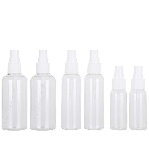 6 stks fijne mist heldere spuitflessen met pomp, herbruikbare hervulbare kleine lege plastic flessen voor essentiële oliën, gezicht, haar, parfums