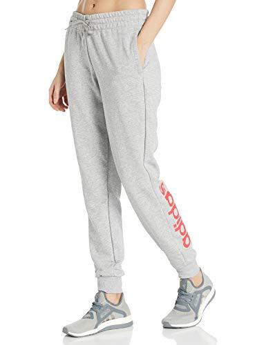 adidas Damen Essentials Linear Pant, Medium Grey Heather/Pink, Größe L