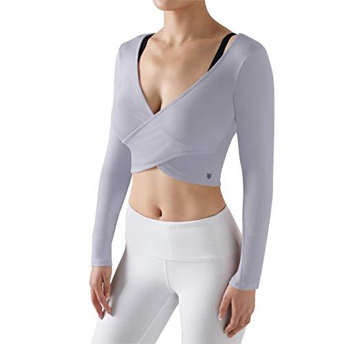 ODODOS Womens Long Sleeve Crop Tops Deep V Neck Slim Fit See Through Cross Wrap Shirts Crop Top, Lavender, Medium