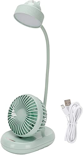 hwljxn LED Schreibtischlampe Lüfter, Multi □ Funktion Flexible Gans Nackenart Typ LED Tisch Desktop-Fan für Bürostudie USB-Aufladung reines weißes Licht
