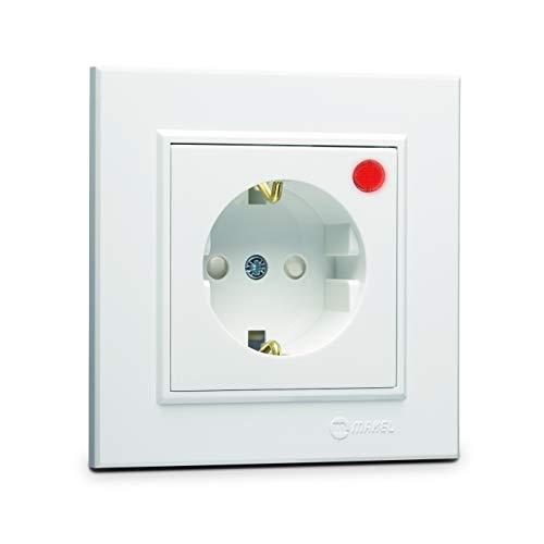 Karea overspanningsbeveiliging - stopcontact + frame, VDE-gecertificeerd, inbouw met stekkerklem, in wit
