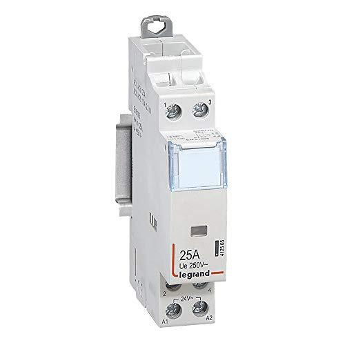 Legrand 412505 Contacteur de puissance CX³ bobine 24V sans commande manuelle, 2P, 250V, 25A, contact 2F, 1 module
