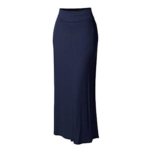 FDJIAJU Falda para Mujer,Señoras Tube Falda Sexy Moda Larga Falda Recta Casual Sólido Alta Cintura Piso-Longitud Cuerpo Midi Lápiz Vestido De Trabajo Oficina De La Fiesta Daywear,Azul Marino,XL