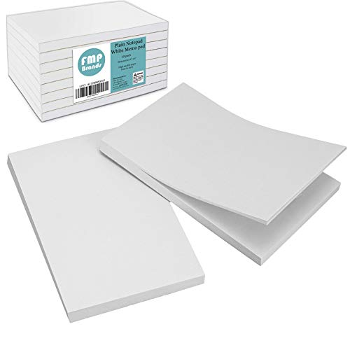 "[10 Pack] 100 Sheets Plain Notepad - 4 x 6"" White Blank Memo pad, Scratch Pad for Restaurant Server, Concession Stand, School and Office Supplies"