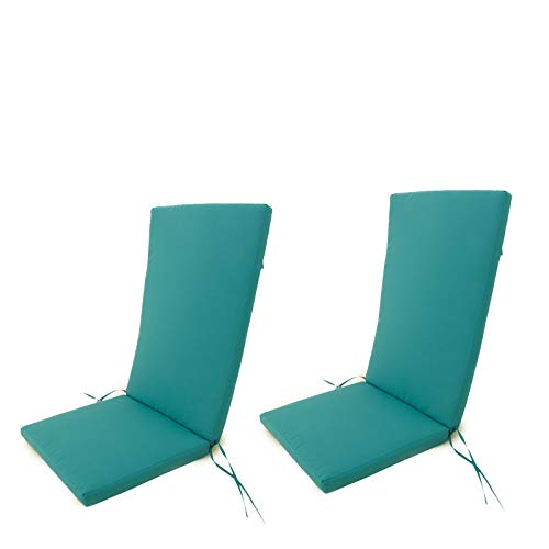 Edenjardi Pack 2 Cojines para sillones de jardín reclinables Color Turquesa, Tamaño 114x48x5 cm, Repelente al Agua, Desenfundable