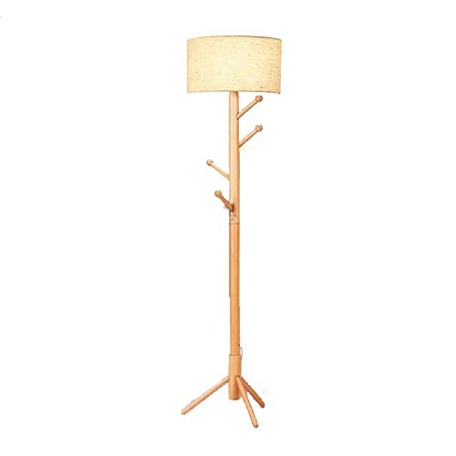 NXWL Lámpara de Pie Moderna para Dormitorio Estudio Salón con Luces E27 de Pie con Base Trípode Inoxidable Pantalla de Lino Beige Interruptor de Cable y pie