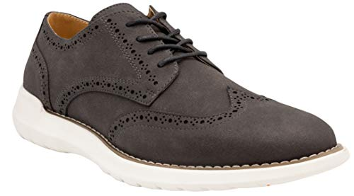 NINE WEST Wingtip Shoes for Men I Lace Up Mens Oxford Shoes I Casual Dress shoes for Men I Fashion Shoes for Men with Deep Grooves In Outsole that Mimics the Natural Motion of the Foot I JAY Grey-10.5