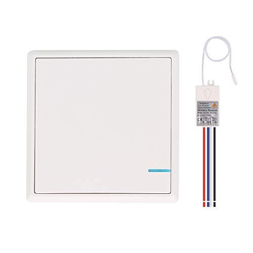 Mengshen Kit De Interruptor De Luces Inalámbrico, 1 Interruptor De Una Unidad + 1 Receptor, No Requiere Cableado, Fácil De Instalar