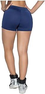 Shorts Feminino Curto Bermuda Shortinho Fitness Suplex Alta (azul marinho, M)