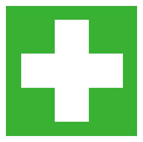 Erste Hilfe Symbolschild Rettungszeichen ISO Folie selbstklebend 100x100mm Orig. ANDRIS®