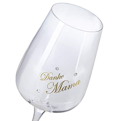 van Hoogen Hochwertiges Weinglas Danke Mama - zum Muttertag - Mit echtem Gold Bedruckt und mit Strass verziert - Chef & Sommelier - Geschenk Mama Mutter