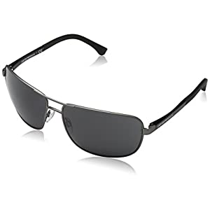Armani sunglasses for men and women Emporio Armani EA2033 313087 Gunmetal EA2033 Square Pilot Sunglasses Lens Categ, 64mm