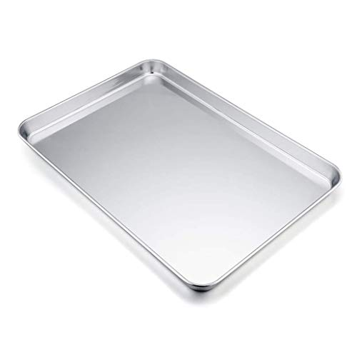 YX Baking Sheets Baking Sheet, Cookie Sheet Stainless Steel Toaster Oven Tray Pan Rectangle, Non Toxic & Healthy,Superior Mirror Finish & Easy Clean, Dishwasher Safe