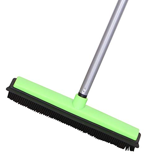 Product Image of the LCF Pet Hair Rubber Broom Removal Tool, Carpet Rake Floor Brush with Squeegee Fur, Soft Push Broom for Fluff Carpet, Hardwood Floor, Tile, Window, Green