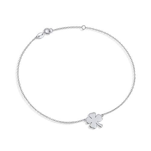 Four Leaf Clover Shamrock Flower Anklet Lucky Charm Anklet Link Ankle Bracelet For Women Sterling Silver 9-10 Inch