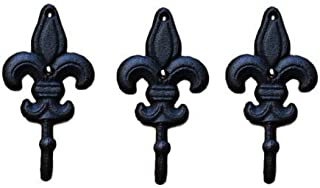 3 Cast Iron Antique Style Rustic Fleur De Lis Coat Hooks Hat Hook Rack Towel #1