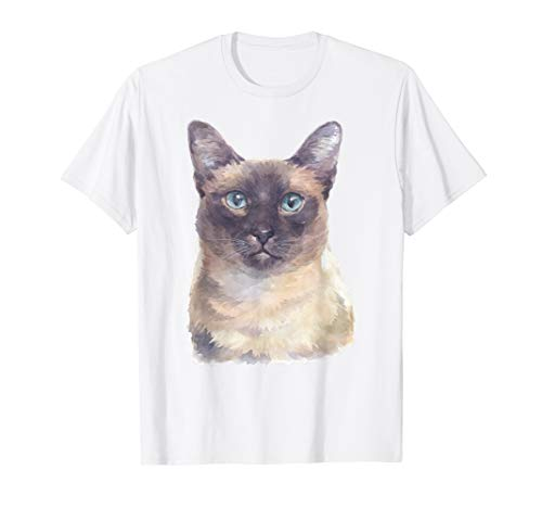 Siamese Cat Shirt - Watercolor Art Siamese Shorthair Cat T-Shirt