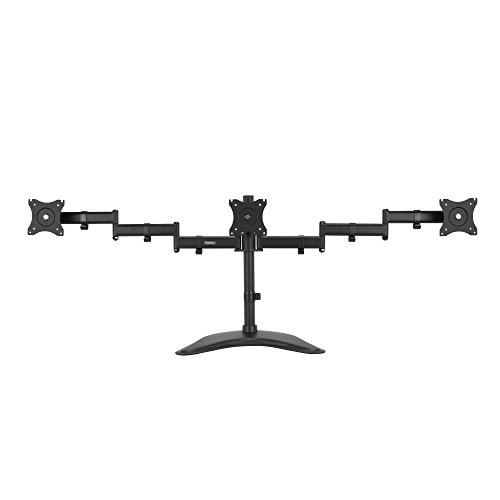 "VonHaus Fully Adjustable Triple Three Arm LCD LED Monitor Desk Mount Bracket Stand for 13-27"" Screens with 45° Tilt & 180° Swivel"