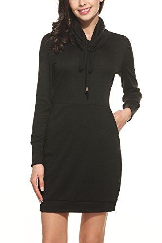 Zeagoo Herbst/Winter Damen Casual Kleid Strickkleid Rollkragen Langarm Warm Pullover Freizeitkleid Etuikleid Schwarz M