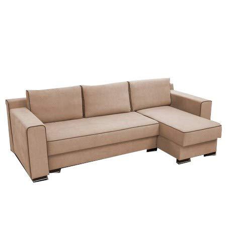 MOEBLO Ecksofa mit Schlaffunktion mit Bettkasten Sofa Couch L-Form Polstergarnitur Wohnlandschaft Polstersofa mit Ottomane Couchgranitur - Dorin (Beige...
