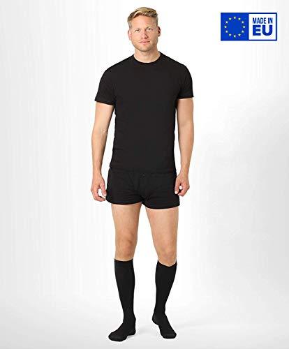 BeFit24 Calze elastiche a compressione graduata (15-21 mmHg, 140 Denari, Classe 1) per uomo - Gambaletti antitrombo lunghi - Compression socks - [ Misura scarpe uomo: EU 44-46 (L) - Nero ]