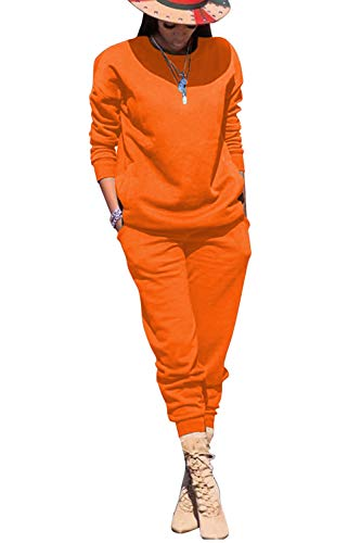 VNVNE Womens Fall Solid Color Crew Neck Pullover Top & Long Pants Set 2 Piece Outfits Tracksuit Sportswear Sweatsuit (Orange, L)