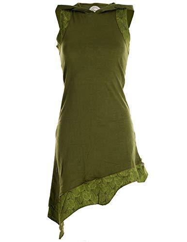 Vishes - Alternative Bekleidung - Asymmetrisches Damen Elfenkleid Baumwolle mit Zipfelkapuze olivegrün 36