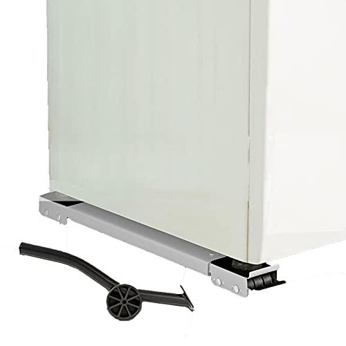 LWLCY Base de Muebles Carrito Móvil Universal, Soporte para Lavadora móvil Soporte Frigorifico con Ruedas Extensible, 46.5-72CM, con Palanca, para Secadora Refrigerador, 2 Piezas(Color:Blanco)