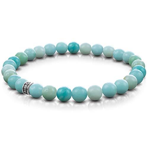 FABACH Amazonit Perlenarmband mit 6mm Edelstein-Perlen und 925 Sterling Silber Logo-Perle - Edles Naturstein Stretch-Armband für Damen (Türkis)