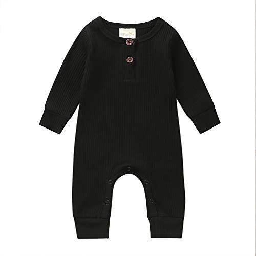 hujukuludusu Newborn Ifant Boy Girl Romper Jumpsuit Solid Color Long Sleeve Button Ribbed Knitted One Piece Outfits Bodysuit (Black, 3-6 Months)