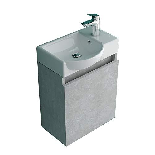 Waschplatz von Alpenberger I Waschbecken aus Sanitärkeramik mit hochwertigem Unterschrank vormontiert in Grau Matt I Badezimmer Gäste WC Lösung Bad