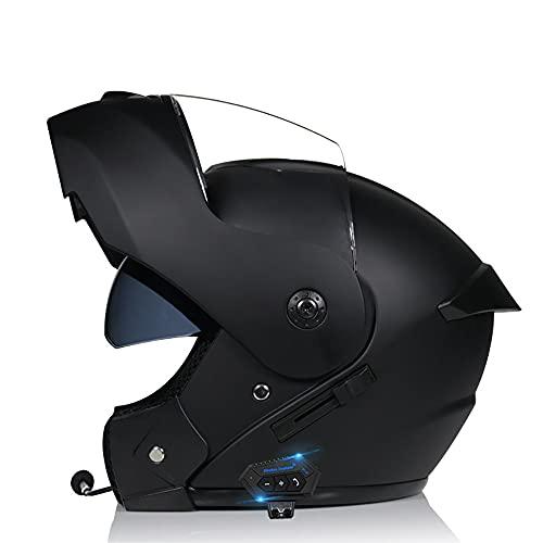 Casco De Moto Modular Bluetooth Integrado,Casco Anticolisión De Carreras De Cara Completa Certificado ECE con Visera Doble Antivaho De Alta Definición, Cómodo Y Transpirable
