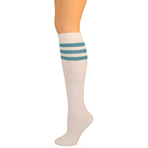 AJs Classic Triple Stripes Retro Knee High Tube Socks - White, Turquoise, Sock size 11-13, Shoe Size 5 and up