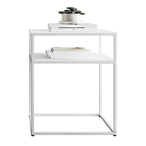 FEI Table d'appoint Table de chevet Table de nuit avec fer en métal pour la chambre Salon Terrasse (Couleur : NOIR)