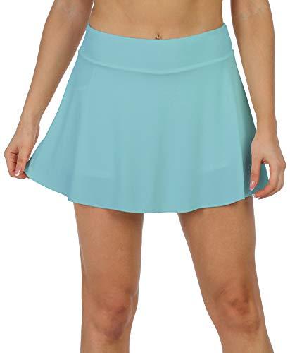 icyzone - Faldas atléticas para mujer con pantalones cortos - Entrenamiento Running Golf Tenis Skorts con bolsillos - Azul - Medium
