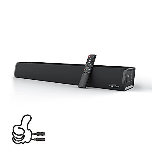 Sound Bar, Bestisan Home Audio TV Soundbar Speaker, Wireless Bluetooth 5.0 Soundbars for TV/PC/Projectors, Opt/Coax/Aux/USB,(24 Inch, 3 EQ Modes, 3D Surround Sound)