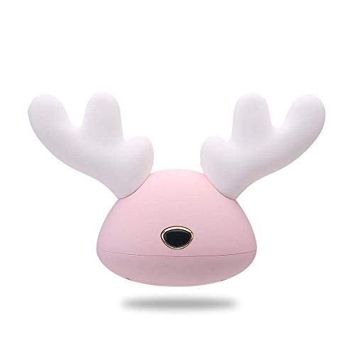 E-CHENG LED Antlers Night Light 7 Colorful Silicone Bedside Deer Lamp,USB Charging Reading Lamps And Baby Bedroom Feeding Light,Prefect Gift for Kids,Friends And Family (Pink)