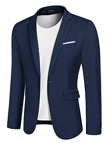 COOFANDY Men's Casual Sport Coats Slim Fit Blazer Jacket Lightweight One Button Suit Jacket Blue