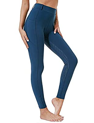 FitsT4 FitsT4 Kids Full Seat Silicon Grip Riding Tights Horseback Riding Equestrian Schooling Breeches Navy M from FitsT4 Sports