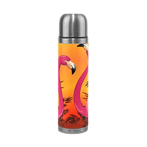 XiangHeFu Waterfles, sport, zonsondergang, tropische zee, flamingo, drank, koud of warm houden 17 ounces lekvrije reisbeker thermoskan