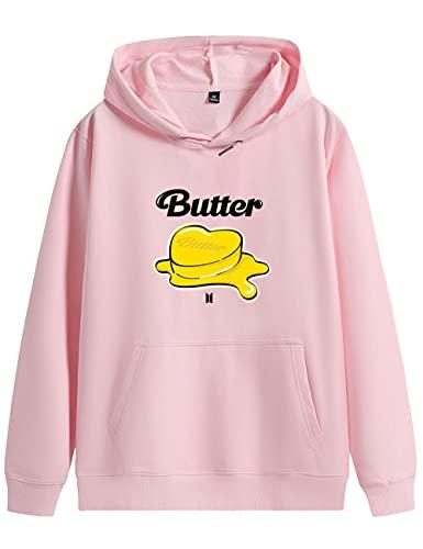 kpop Merch Butter Hoodie – Pullover Jungkook V Jin Suga Jimin J-HOPE RM Funny Hoody ARMY Unisex Gr. S, rose