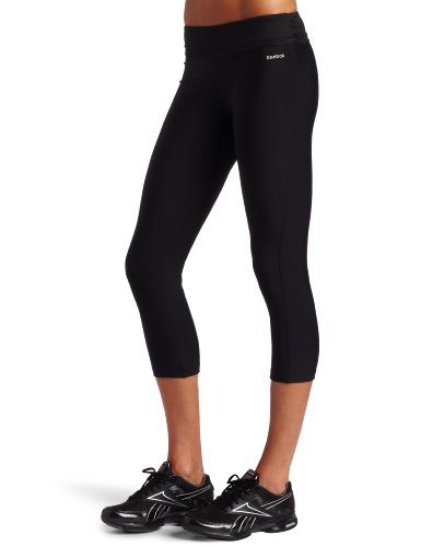Reebok Easytone de Mujer Fitness Capri, Mujer, Color Negro/Negro, tamaño Large